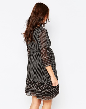 photo Border Print Maternity Dress by Kate Thomas, color Black Multi - Image 2