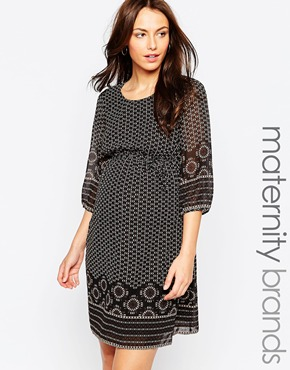 photo Border Print Maternity Dress by Kate Thomas, color Black Multi - Image 1