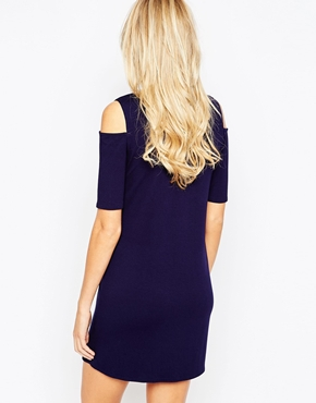 photo Jersey Cold Shoulder Maternity Dress by Kate Thomas, color Navy - Image 2