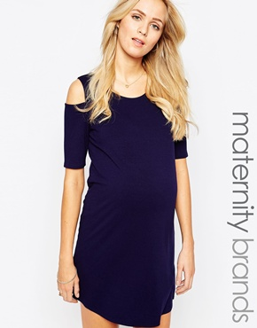 photo Jersey Cold Shoulder Maternity Dress by Kate Thomas, color Navy - Image 1
