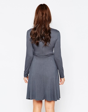 photo Jersey Roll Neck Maternity Dress by Kate Thomas, color Grey - Image 2