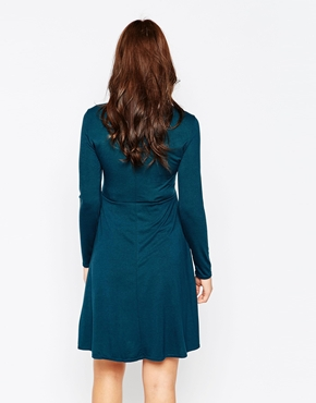 photo Jersey Roll Neck Maternity Dress by Kate Thomas, color Teal - Image 2