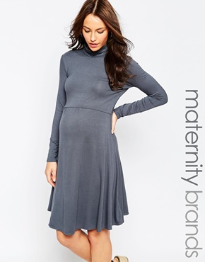 photo Jersey Roll Neck Maternity Dress by Kate Thomas, color Grey - Image 1