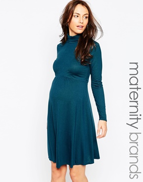 photo Jersey Roll Neck Maternity Dress by Kate Thomas, color Teal - Image 1