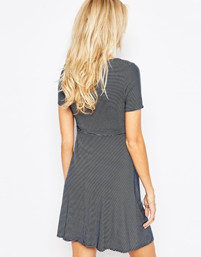 photo Jersey Scoop Neck Skater Maternity Dress by Kate Thomas, color Navy Stripe - Image 2