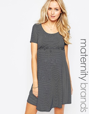 photo Jersey Scoop Neck Skater Maternity Dress by Kate Thomas, color Navy Stripe - Image 1