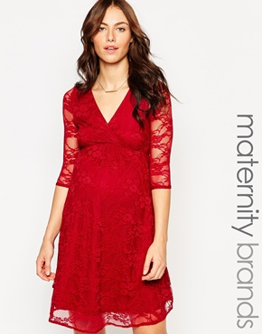 photo Lace Wrap Front Maternity Dress by Kate Thomas, color Royal Red - Image 1