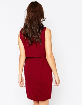 photo Layered V Neck Maternity Dress by Kate Thomas, color Burgandy - Image 2