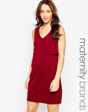photo Layered V Neck Maternity Dress by Kate Thomas, color Burgandy - Image 1
