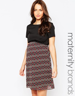 photo Maternity Skater Dress with Paisley Skirt by Kate Thomas, color Black Multi - Image 1