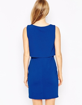 photo Shift Crepe Maternity Dress with Overlay by Kate Thomas, color Cobalt Blue - Image 2