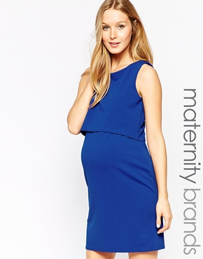 photo Shift Crepe Maternity Dress with Overlay by Kate Thomas, color Cobalt Blue - Image 1