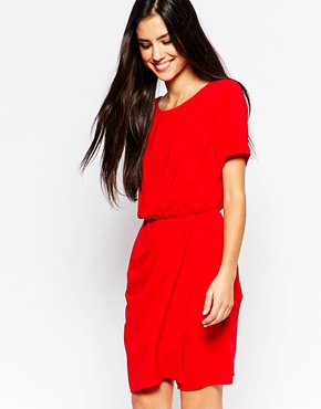 photo Dress with Gathered Waist by Lashes of London, color Red - Image 1