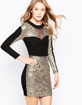 photo Jacquard Dress with Contrast Collar by Lashes of London, color Black Gold - Image 1