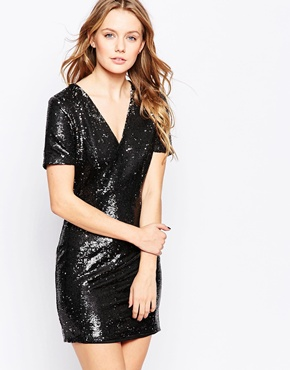 photo Mini Dress In Two Tone Sequins by Lashes of London, color Black Silver - Image 1