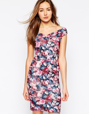 photo Aida Bardot Floral Dress by Lipstick Boutique, color Floral - Image 1