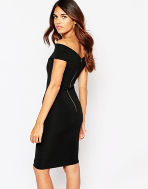 photo Ava Off Shoulder Dress by Lipstick Boutique, color Black Rib - Image 2