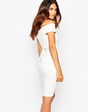 photo Ava Off Shoulder Dress by Lipstick Boutique, color White Rib - Image 2