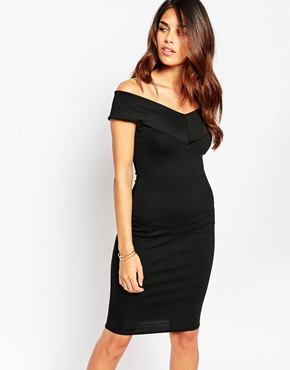 photo Ava Off Shoulder Dress by Lipstick Boutique, color Heavy Black Rib - Image 1