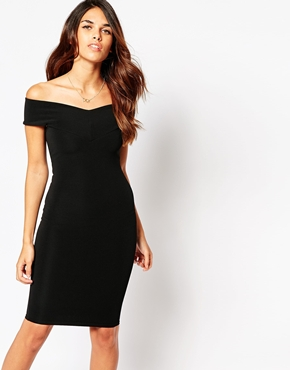 photo Ava Off Shoulder Dress by Lipstick Boutique, color Black Rib - Image 1