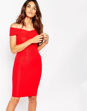 photo Ava Off Shoulder Dress by Lipstick Boutique, color Red Rib - Image 1