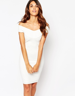 photo Ava Off Shoulder Dress by Lipstick Boutique, color White Rib - Image 1