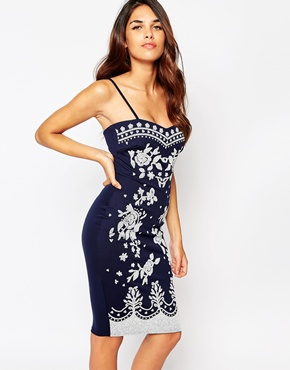 photo Carola Bandeau Dress by Lipstick Boutique, color Navy White - Image 1