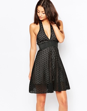 photo Cross Front Skater Dress in Cutwork Scuba by Lipstick Boutique, color Black - Image 1
