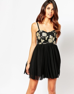 photo Flossy Bandeau Skater Dress with Sequin Top by Lipstick Boutique, color Gold Seqin - Image 1