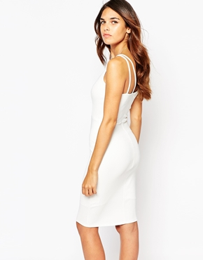 photo Jenna Bodycon Dress by Lipstick Boutique, color White Rib - Image 2