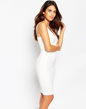 photo Jenna Bodycon Dress by Lipstick Boutique, color White Rib - Image 1