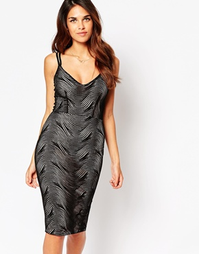 photo Jenny Midi Dress with Web Overlay by Lipstick Boutique, color Black Nude - Image 1
