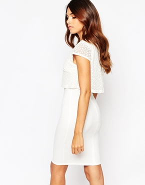 photo Kylie Dress with Embroidered Overlay by Lipstick Boutique, color Cream Organza - Image 2
