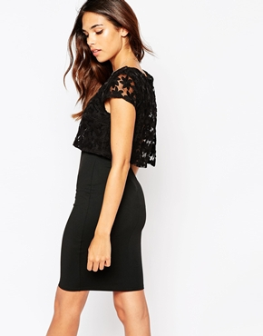 photo Kylie Dress with Embroidered Overlay by Lipstick Boutique, color Black Organza - Image 2