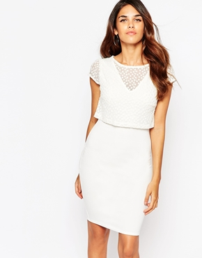 photo Kylie Dress with Embroidered Overlay by Lipstick Boutique, color Cream Organza - Image 1