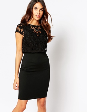 photo Kylie Dress with Embroidered Overlay by Lipstick Boutique, color Black Organza - Image 1