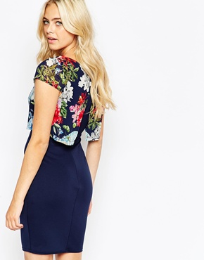 photo Kylie Dress with Floral Overlay Top by Lipstick Boutique, color Floral Navy - Image 2