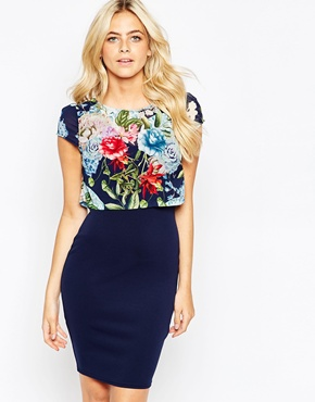 photo Kylie Dress with Floral Overlay Top by Lipstick Boutique, color Floral Navy - Image 1