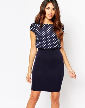 photo Kylie Dress with Overlay Spot Top by Lipstick Boutique, color Spot Navy - Image 1