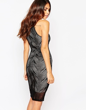 photo Minnie Bodycon Dress by Lipstick Boutique, color Black Mesh Nude - Image 2