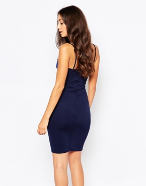 photo Pencil Dress with Caviar Bead Trim by Lipstick Boutique, color Navy - Image 2