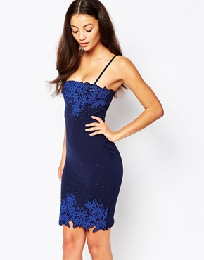 photo Pencil Dress with Caviar Bead Trim by Lipstick Boutique, color Navy - Image 1