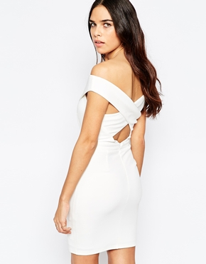 photo Bardot Dress with Embellished Waist by Lipstick Boutique Petite, color White - Image 2