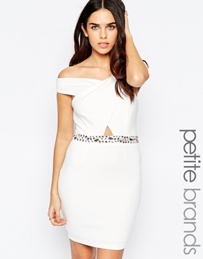 photo Bardot Dress with Embellished Waist by Lipstick Boutique Petite, color White - Image 1