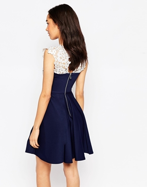 photo Floral Lace Skater Dress by Lipstick Boutique Petite, color Navy White - Image 2