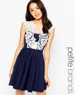 photo Floral Lace Skater Dress by Lipstick Boutique Petite, color Navy White - Image 1