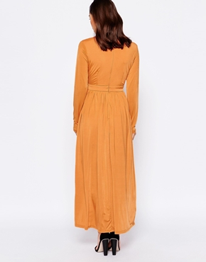 photo Maxi Dress with Thigh Split and Plunge Neckline by Lipstick Boutique Petite, color Burnt Orange - Image 2