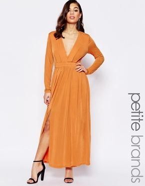 photo Maxi Dress with Thigh Split and Plunge Neckline by Lipstick Boutique Petite, color Burnt Orange - Image 1