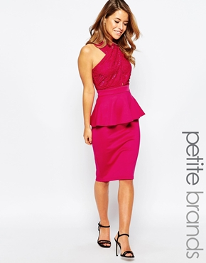 photo Peplum Dress with Lace Top by Lipstick Boutique Petite, color Fuchsia - Image 1