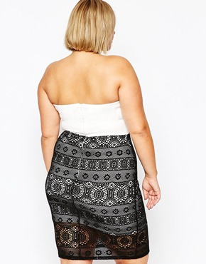 photo Bandeau Dress with Lace Skirt by Lipstick Boutique Plus, color Cream Black - Image 2